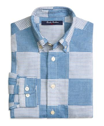 Brooks Brothers Patchwork Chambray Sport Shirt