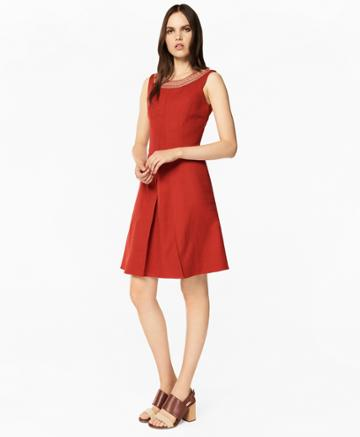 Brooks Brothers Women's Embroidered Stretch-cotton Jacquard Dress