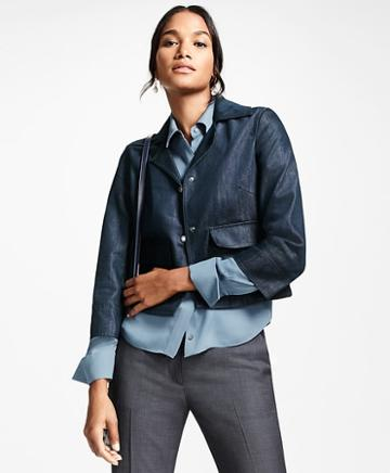 Brooks Brothers Water-repellent Denim Cropped Jacket