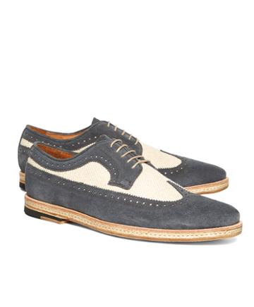 Brooks Brothers Suede And Canvas Saddle Wingtips