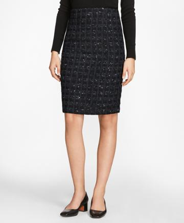 Brooks Brothers Women's Checked Boucle Tweed Pencil Skirt