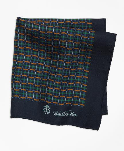 Brooks Brothers Plaid Links And Duck Pocket Square
