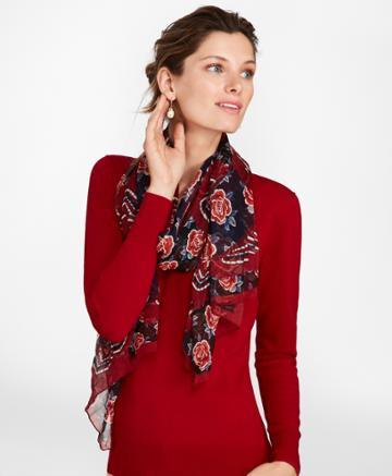 Brooks Brothers Women's Rose-print Silk Chiffon Oblong Scarf