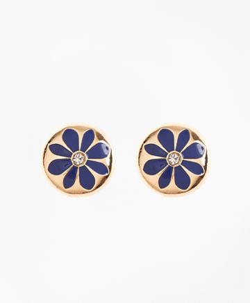 Brooks Brothers Enamel Floral Stud Earrings