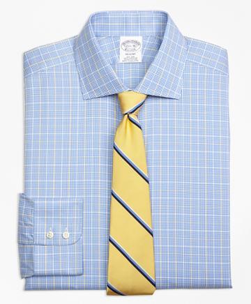 Brooks Brothers Regent Fitted Dress Shirt, Non-iron Glen Plaid Overcheck