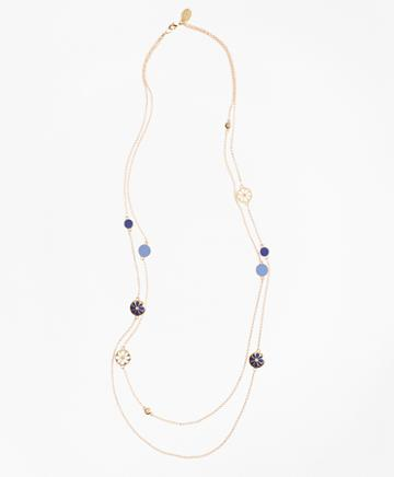 Brooks Brothers Long Two-strand Enamel Charm Necklace