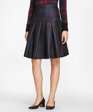 Brooks Brothers Women's Tartan Sparkle Jacquard Pleated Skirt