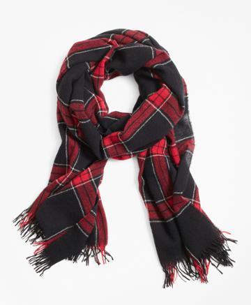 Brooks Brothers Men's Red Windowpane Wool Scarf