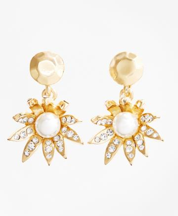 Brooks Brothers Women's Pearl Double-drop Flower Earrings