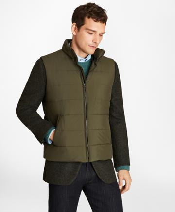 Brooks Brothers Men's Water-repellent Tech Twill Quilted Vest
