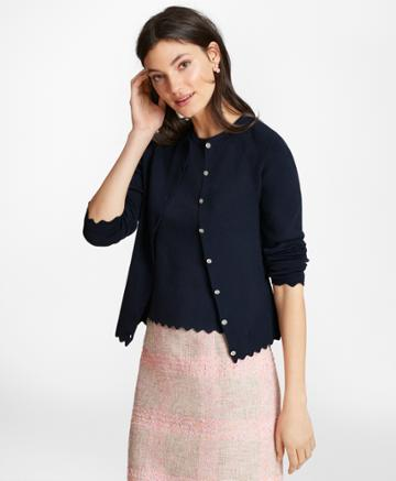 Brooks Brothers Women's Supima Cotton Pointelle Scalloped Cardigan