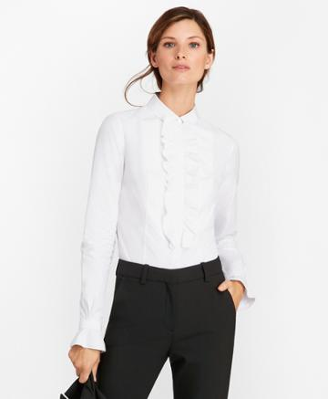 Brooks Brothers Women's Petite Tailored-fit Cotton Dobby Tuxedo Shirt