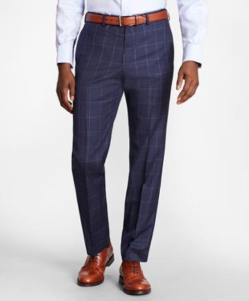 Brooks Brothers Brooksgate Regent-fit Windowpane Wool Twill Suit Pants