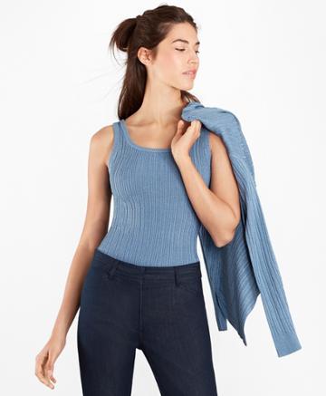 Brooks Brothers Women's Metallic Rib-knit Shell