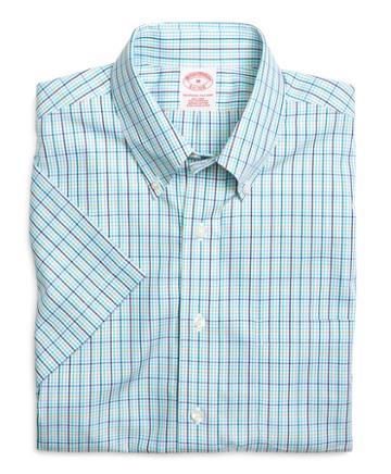 Brooks Brothers Supima Cotton Non-iron Regular Fit White Multi Check Short-sleeve Sport Shirt