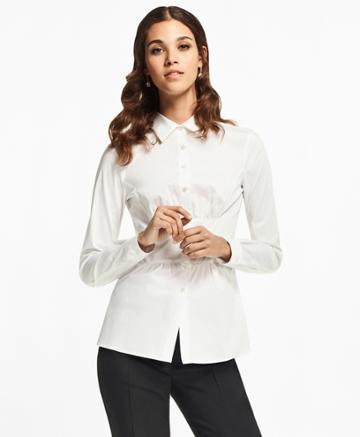 Brooks Brothers Women's Stretch Cotton Peplum Shirt