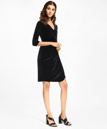 Brooks Brothers Women's Velvet Faux Wrap Dress