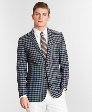 Brooks Brothers Milano Fit Silk And Linen Check Sport Coat