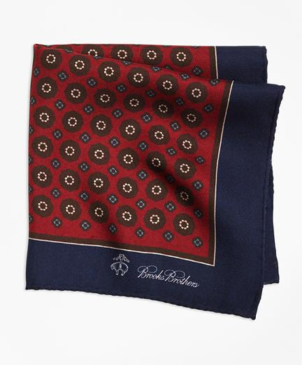 Brooks Brothers Flower And Medallion Pocket Square
