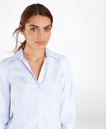 Brooks Brothers Non-iron Tailored-fit Striped Three-quarter-sleeve Shirt