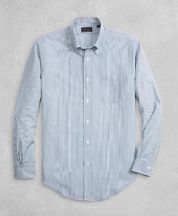 Brooks Brothers Men's Golden Fleece Brookstech Regent Fit Striped Sport Shirt