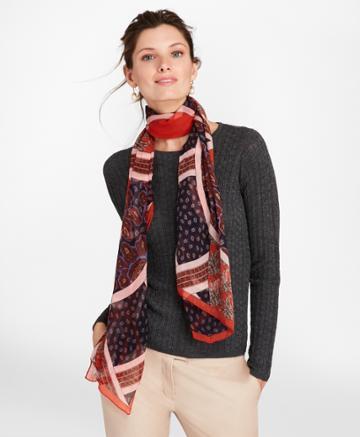 Brooks Brothers Women's Mixed-print Silk Chiffon Oblong Scarf