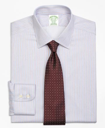 Brooks Brothers Milano Slim-fit Dress Shirt, Non-iron Alternating Split Stripe