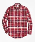 Brooks Brothers Non-iron Madison Fit Red Plaid Sport Shirt