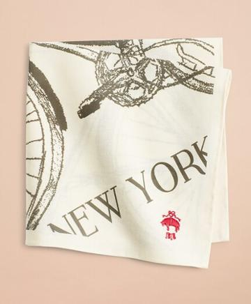 Brooks Brothers Cotton Bicycle-print Pocket Square