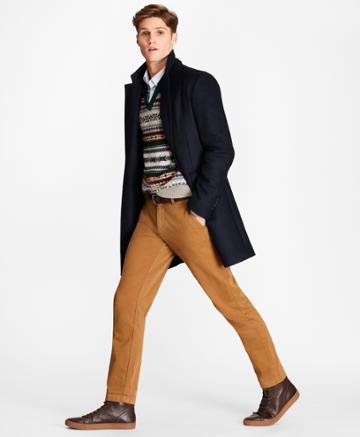 Brooks Brothers Men's Black Watch Wool-blend Topcoat