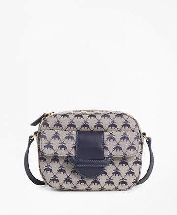 Brooks Brothers Leather-trimmed Logo Jacquard  Crossbody Bag