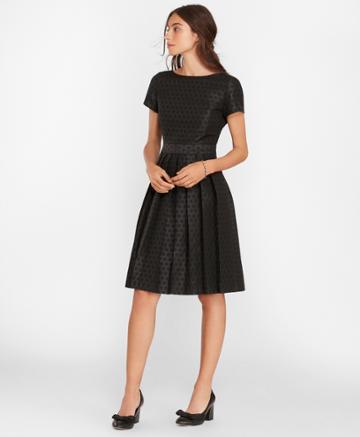 Brooks Brothers Women's Polka-dot Jacquard Pleated Dress