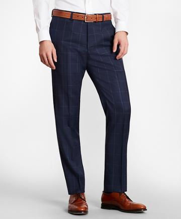 Brooks Brothers Brooksgate Milano-fit Windowpane Wool Twill Suit Pants