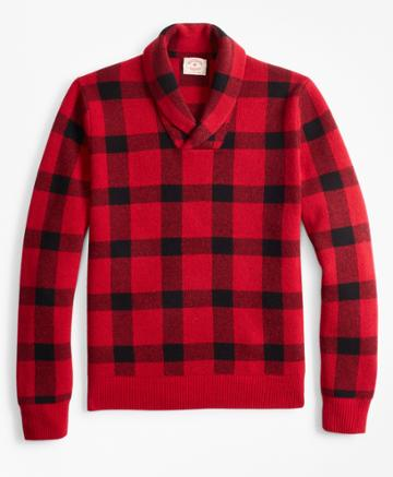 Brooks Brothers Men's Merino Wool-blend Buffalo Plaid Shawl-collar Sweater
