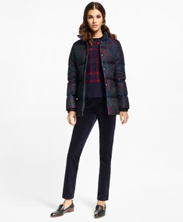 Brooks Brothers Women's Tartan Jacquard Puffer Coat