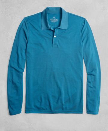 Brooks Brothers Men's Golden Fleece Brookstech Two-button Long-sleeve Polo Shirt