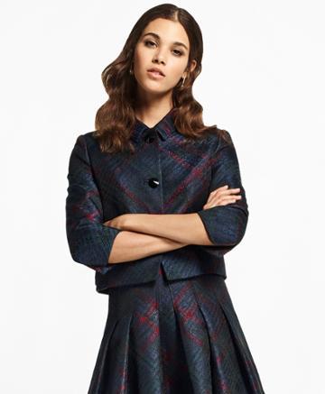 Brooks Brothers Women's Tartan Sparkle Jacquard Cropped Jacket