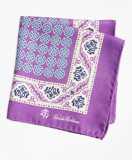 Brooks Brothers Paisley And Circle Link Pocket Square