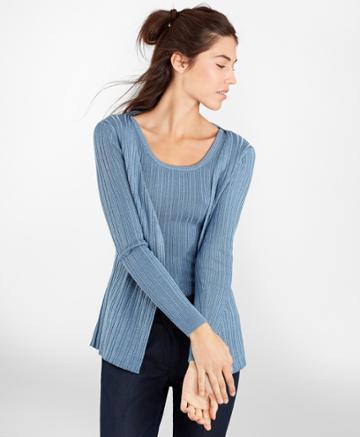 Brooks Brothers Women's Metallic Rib-knit Cardigan