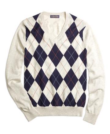 Brooks Brothers Argyle V-neck Sweater
