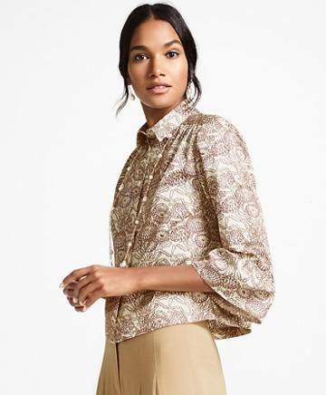 Brooks Brothers Floral-print Cotton Sateen Bell-sleeve Blouse