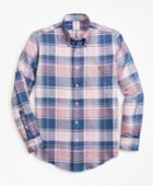 Brooks Brothers Men's Madison Fit  Plaid Irish Linen Sport Shirt