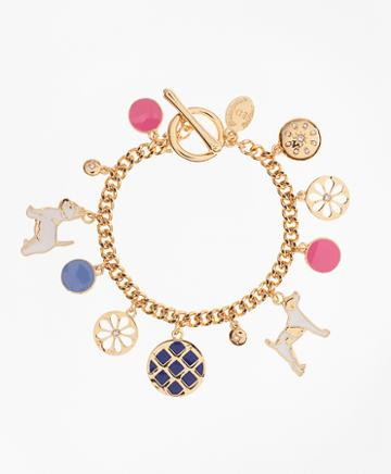 Brooks Brothers Enamel Dog Charm Bracelet