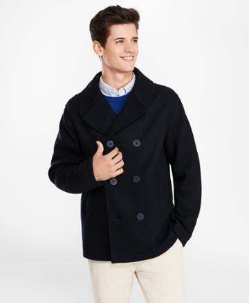 Brooks Brothers Men's Wool-blend Jersey-knit Peacoat