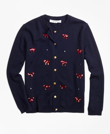 Brooks Brothers Wool Sequin Bow Embroidered Cardigan