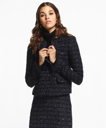 Brooks Brothers Women's Checked Boucle Tweed Jacket