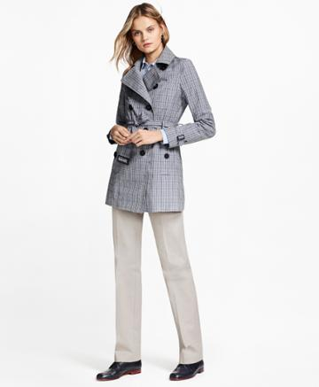 Brooks Brothers Women's Plaid Stretch Cotton Trench Jacket