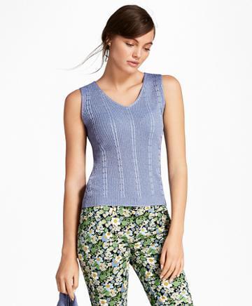 Brooks Brothers Cable-rib Shimmer-knit Shell