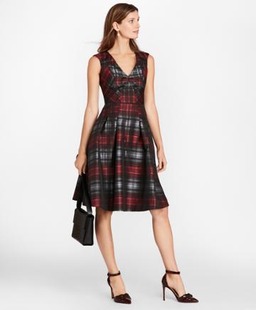 Brooks Brothers Women's Petite Tartan Jacquard Dress