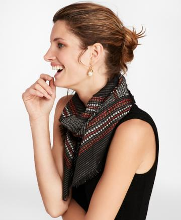 Brooks Brothers Women's Glen Plaid Shimmer Wool-silk Square Scarf